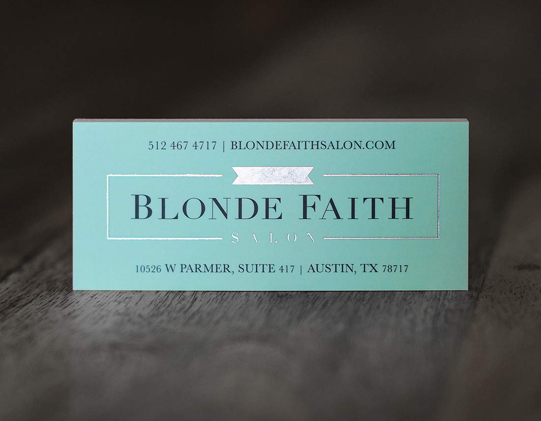 Blonde Faith Salon business card