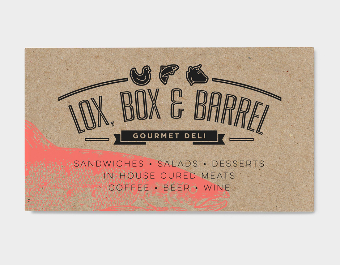 Lox, Box & Barrel post card