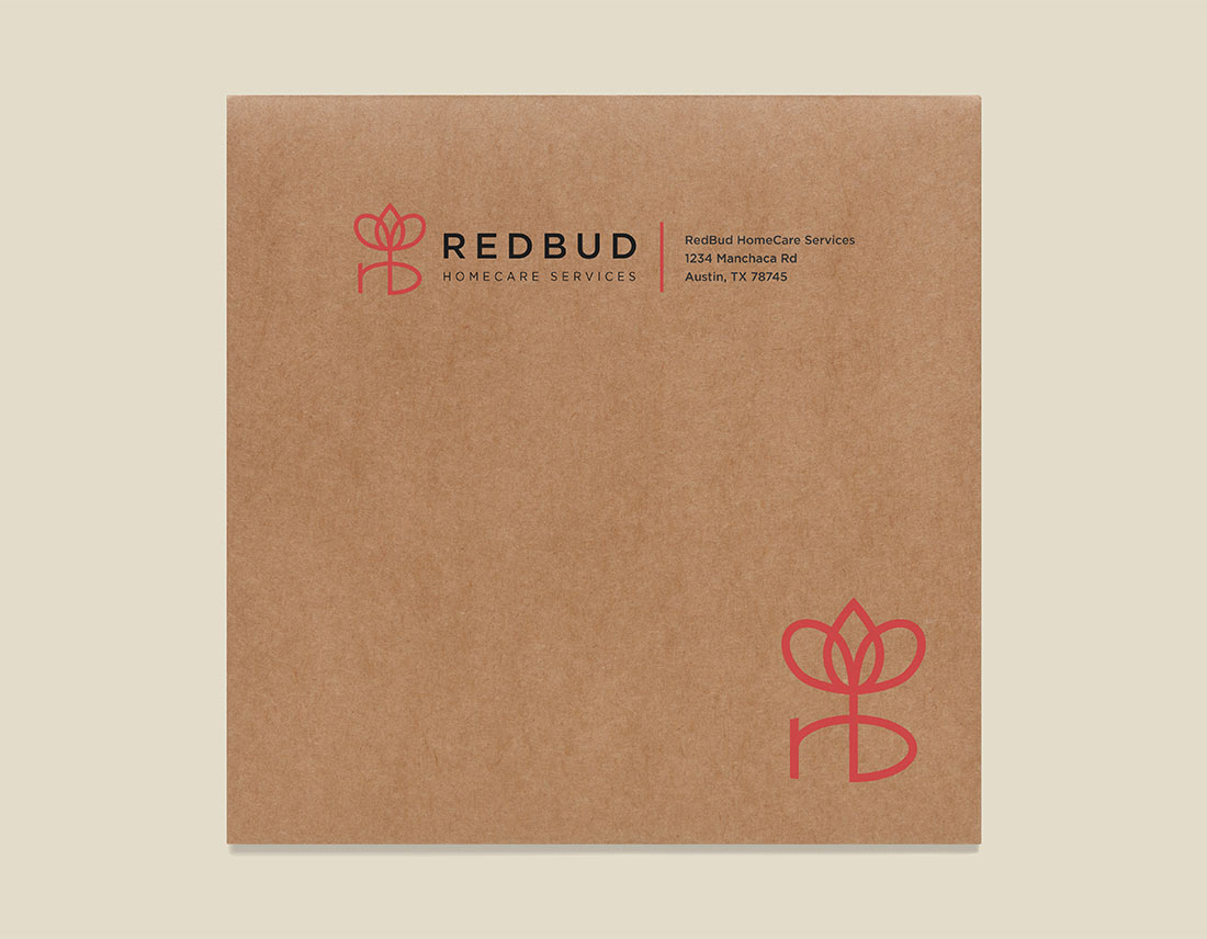 RedBud HomeCare Services kraft envelope design