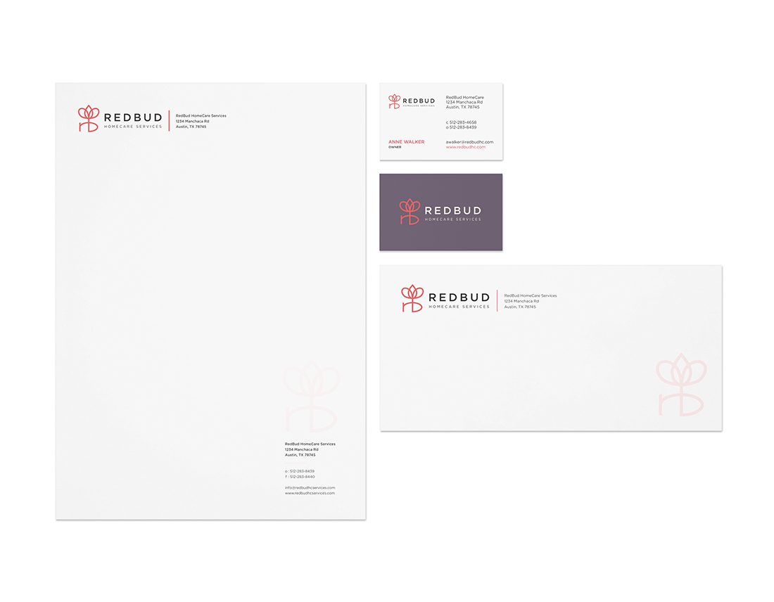 RedBud HomeCare Services stationery design by Peacetime Propaganda, a creative graphic design studio in Austin, Texas