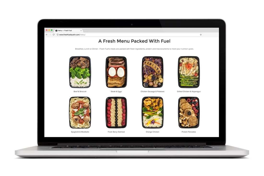 Fresh Fuel Austin website menu page