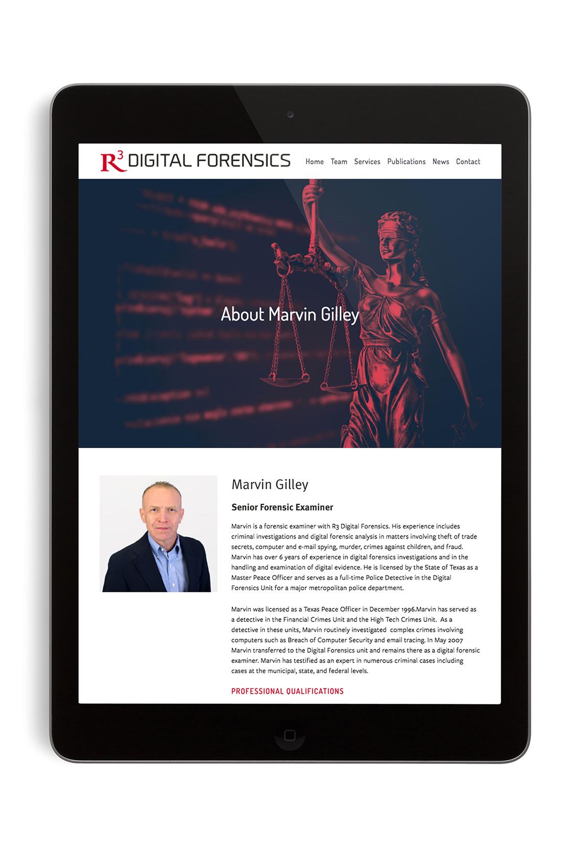R3 Digital Forensics website on iPad