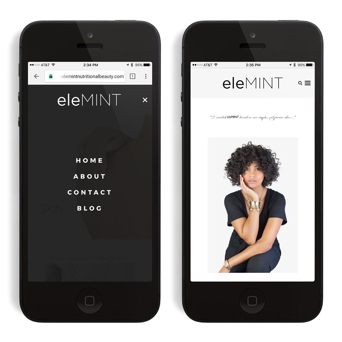 eleMINT Nutritional Beauty website on mobile